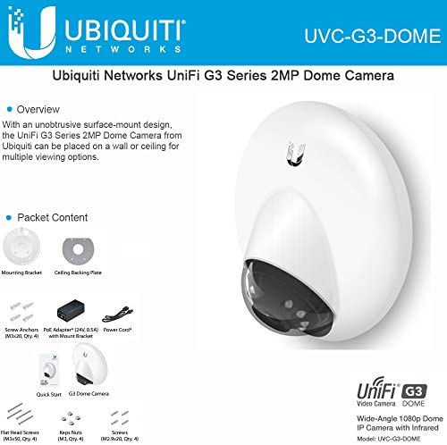 Ubiquiti UniFi UVC G3 DOME IP Video Camera G3 Dome Wide Angle 1080p HD with Infrared product image