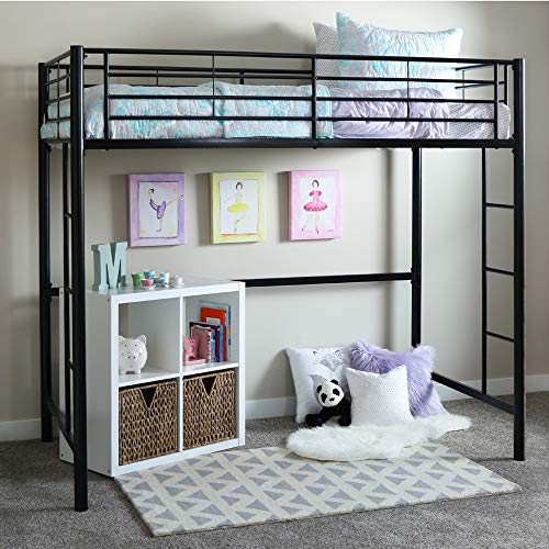 Walker Edison Modern Metal Pipe Twin Size Loft Kids Bunk bed Bedroom Storage Guard Rail Ladder, Black