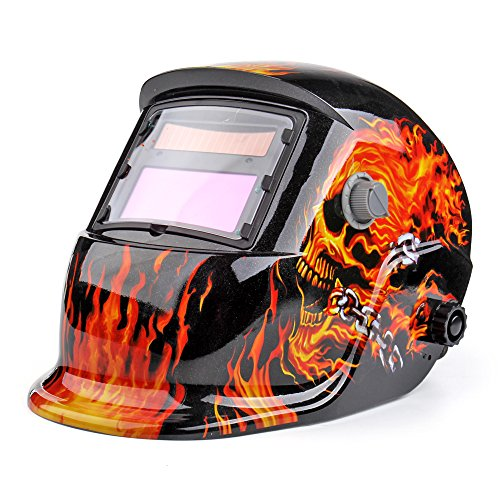 Price comparison product image Flexzion Welding Helmet Auto Darkening Mask Hood (Flame Skull),  Solar Powered Shield Equipment with Weld & Grind Modes Manual Adjustable Shade Range 9-13 for Arc Gas Tig Mig Mma Grinding Plasma Cut