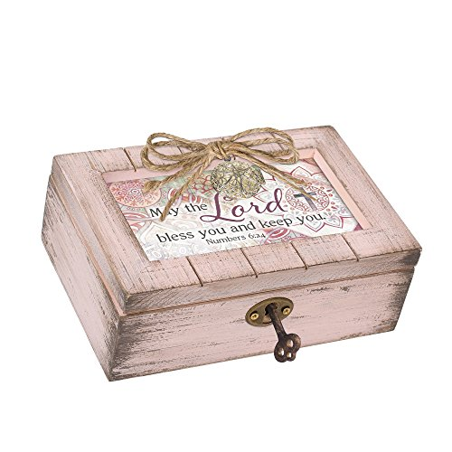 Cottage Garden Lord Bless Keep Blush Pink Distressed Locket Petite Music Box Plays How Great Thou Art