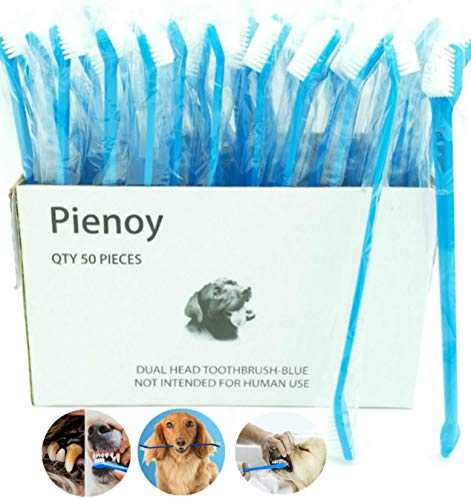 Pienoy 50-Pieces Double Headed Dog Toothbrush, Convenient Toothbrush to Clean pet Teeth, Pet Toothbrush