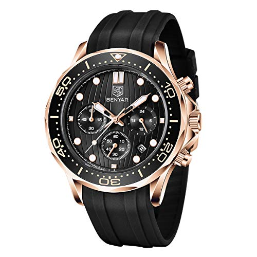 BENYAR Herren Uhr Chronograph Analogue Quartz Silikonband Wasserdicht 30M Mode Mode Sport Armbanduhr Elegantes Geschenk