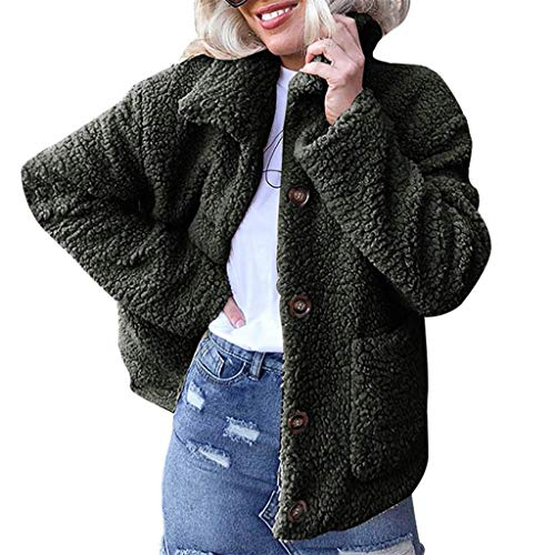 Adelina dames mantel dames warm kunstmatig wol mantel jas revers winter overgang mode completi outdoorjas effen button down mantel maat 42 50