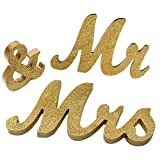 Juego de decoración para bodas – Letras de madera Mr And Mrs Sign Banner recién nacido perfecto para la mesa de boda – Decoración de bar