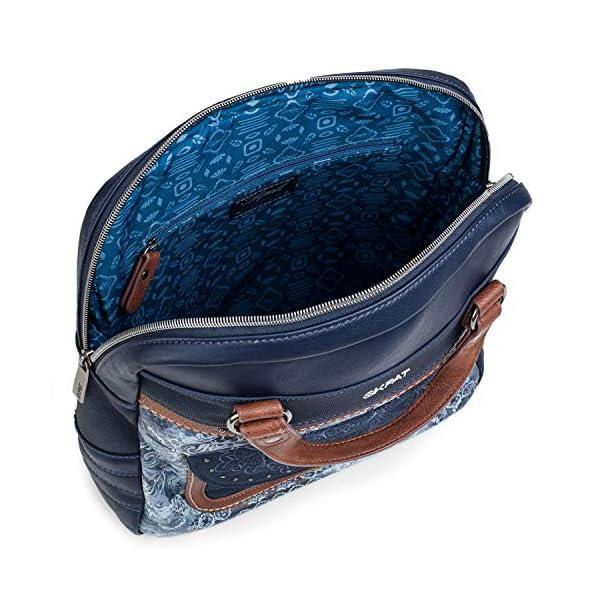 51fJcCp+28L. SS600  - SKPAT - Bolso Mochila de Mujer. Diseño Casual. Práctico Cómodo Ligero y Resistente. Lona Estampada y Cuero PU Bonito Diseño. Estilo Elegante. Llavero. 304524, Color Azul