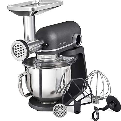 Gastronoma 18170000 Küchenmaschine, Profi, Retro Look, 800 Watt, 5,20 Liter, voll ausgestattet, Aluminium Gehäuse