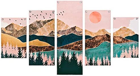 Mountain Painting Prints Wall Art 5 Piece Frameless Nature Landscape Tree Picture Art Print product image