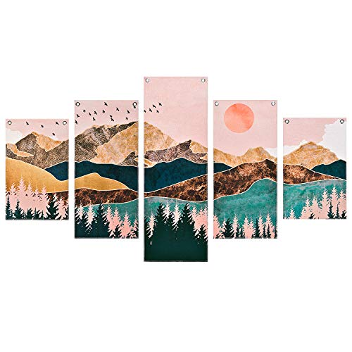 Mountain Painting Prints Wall Art, 5 Piece Frameless Nature Landscape Tree Picture Art Print, Sunset...