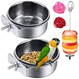 2 Pack Bird Feeder Bowl, Stainless Steel - Parrot Food Bowl Feeding Coop Cups Clamp Water Cage Dish with Fruit Skewer Holder for Parakeet Lovebird Conure Cockatiel Budgie Chinchilla Ferret