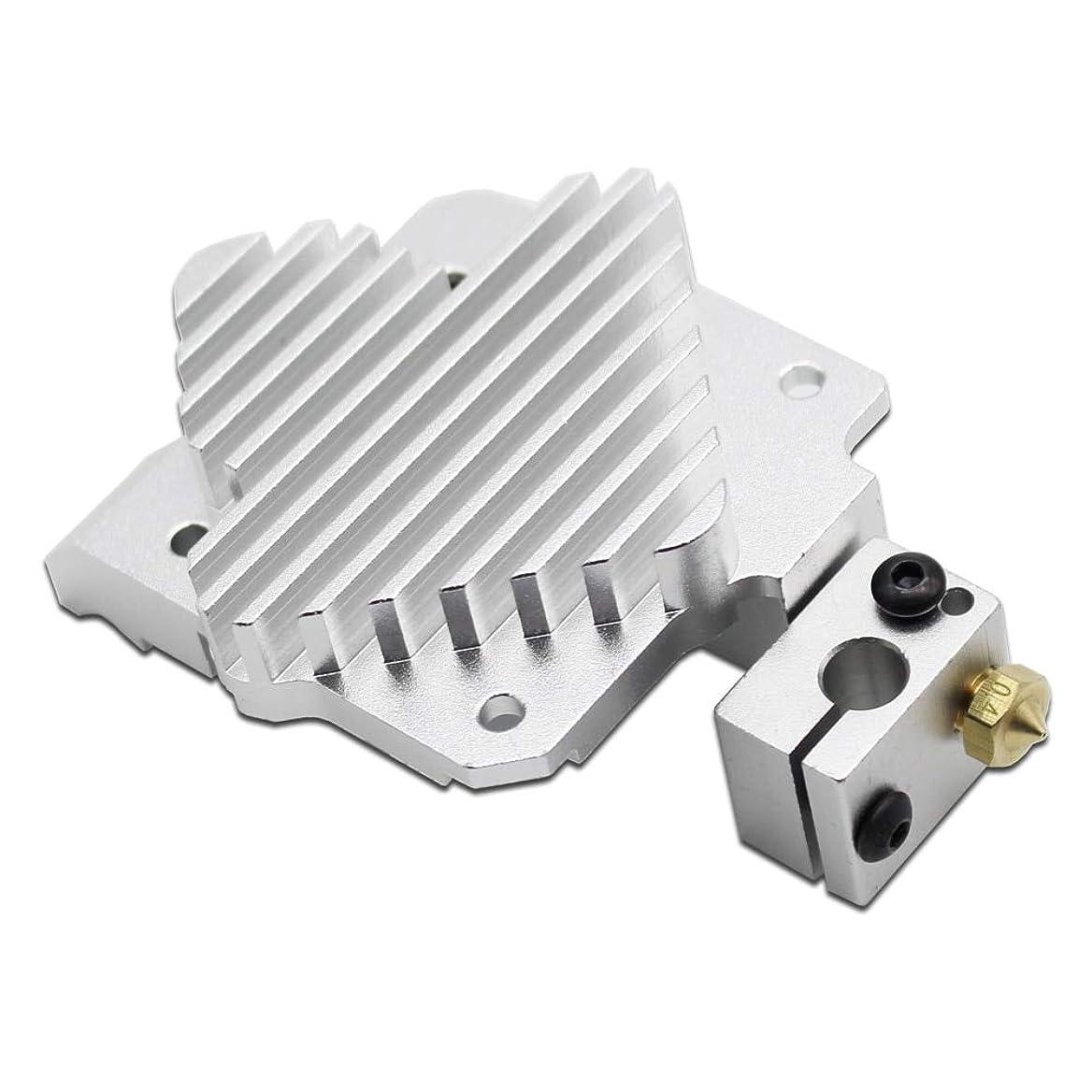 ポータルメロディー死すべきAiCheaX-3DプリンターTitan AeroアップグレードヒートシンクTitanエクストルーダーおよびV6 Hotend Reprap i3 3Dプリンターパーツ-(サイズ:V6ブロック付き)