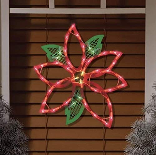 Christmas Holiday Winter LED Lighted Poinsettia Window Silhouette Decoration 14'   BWB Products