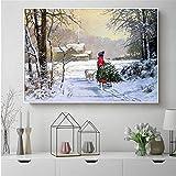 tzxdbh Abstrakte malerei Winter schneelandschaft Landschaft Landschaft Bild für Wohnzimmer leinwand...