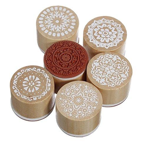 Sellos de goma con mango de madera con 6 diseños florales variados. Para manualidades