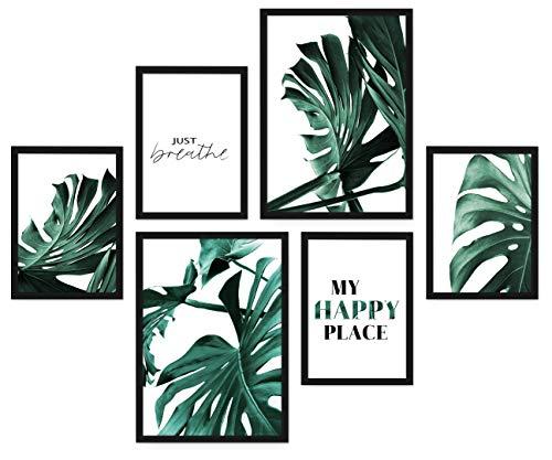 POSTORO Stilvolles Wohnzimmer Poster Set, 6 harmonisch aufeinander abgestimmte Bilder ohne Rahmen, 2 x DIN A3 + 4 x DIN A4 (Monstera Green)