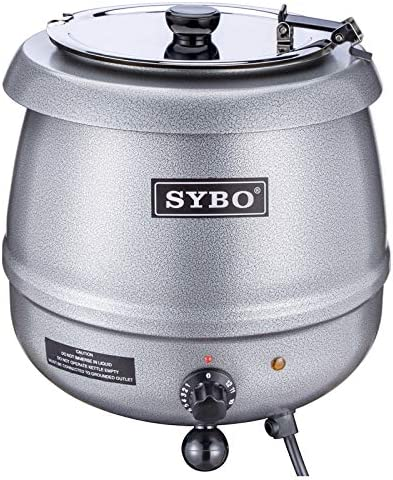 SYBO SB-6000 Commercial Grade Soup Kettle with Hinged Lid and Detachable Stainless Steel Insert Pot for Restaurant and Big Family, 10.5 Quarts, Black