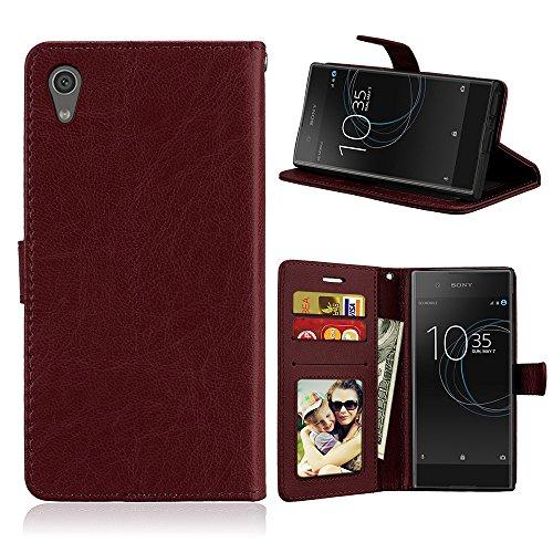 Fatcatparadise Kompatibel mit Sony Xperia Z6 / XA1 Hülle + Bildschirmschutz, Flip Wallet Hülle mit Kartenhalter & Magnetverschluss Halterung PU Leder Hülle handyhülle (Braun)