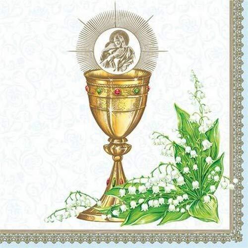 20 Servietten Kelch an Maiglöckchen blau zur Kommunion, Konfirmation und Taufe für Jungen 33x33cm