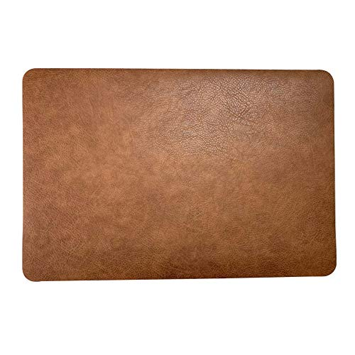 Trendy Moon Faux Leather Placemats Set of 6,PU Waterproof Reversible Table Mats Heat Resistant Non-Slip Washable for Kitchen Dining Table,Conference Table (Set of 6, Coffee)