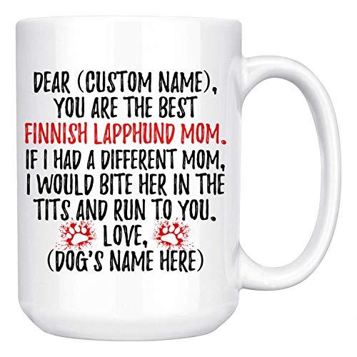 Regalos personalizados para mamá de perro Lapphund finlandés, taza de café para dueño de perro Lapinkoira, regalos para mujeres de perro Suomenlapinkoira, regalo para mamá de Lapphund finlandés, taza
