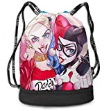 Harley Quinn Clown Girl Bundle Drawstring Backpack pour Gym Sports String Bag School Yoga Kids Mens and Womens Traveling Backpacks