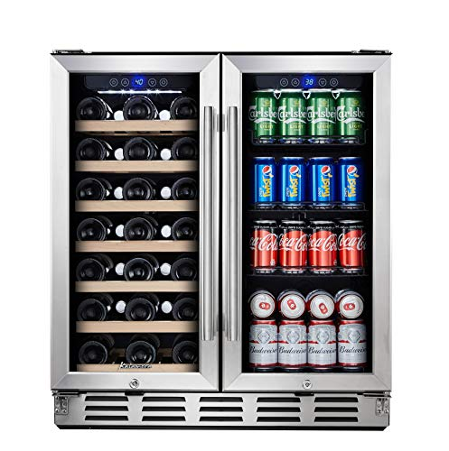 Kalamera Beverage Refrigerator - 30' Beverage Cooler with Glass Front Door - Beer, Wine, Soda And Drink Mini Fridge - Small Stainless Bar Drinks Fridge with Built In Dual Zone & Adjustable Shelves