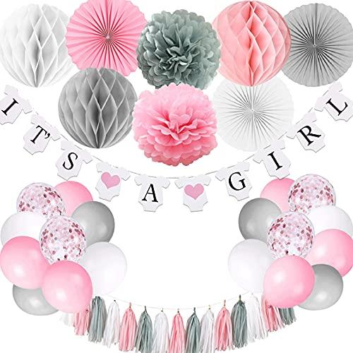 Decoraciones de baby shower para niña, es una chica bandera con pompones de papel, bola de panal de abanico de papel, borla de papel de aluminio, rosa y gris It's A Girl Baby Shower Decoraciones