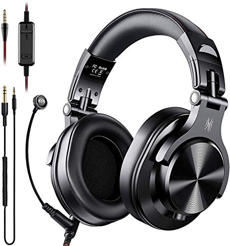 OneOdio A71 Over Ear Headphones with Mic, On-Line Volume & Share-Port Headsets for Gaming Office Phone Call DJ,Wired Stereo Headphones with Detachable Boom Mic