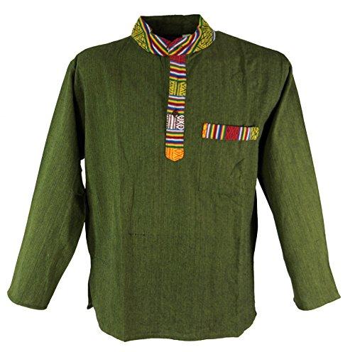 Guru-Shop Nepal Ethno Fischerhemd, Goa Hemd, Herren, Olive, Baumwolle, Size:XL, Hemden Alternative Bekleidung