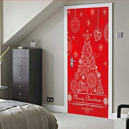 3D-deur-etiket met kerstelementen om zelf te maken, voor thuisdecoratie, zelfklevend behang aan de deur, voor slaapkamer, 77 x 200 cm