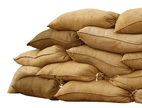 Sandbaggy - Bolsa de arena de arpillera (35 x 66 cm, capacidad de peso de 50 libras) para inundaciones, barrera de agua de inundación, bolsas de arena, bolsas de almacenamiento - arena no incluidas (10 bolsas)