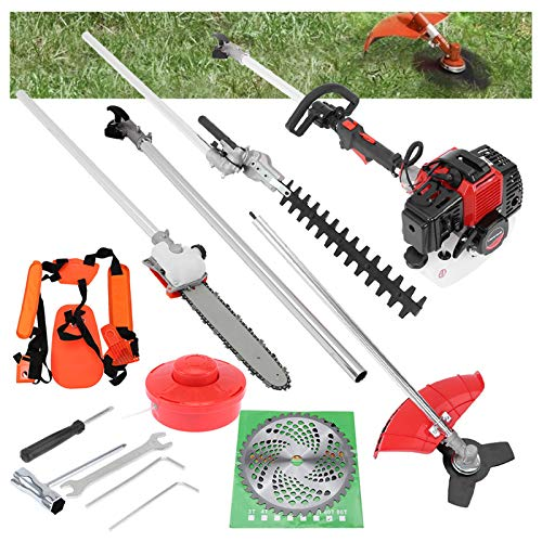 zeipy 5 in 1 52cc Petrol Hedge Trimmer Chainsaw Brush Cutter Pole Saw Outdoor Tools Garden Tool Gas String Trimmer Included Brush Cutter, Pruner, Strimmer, Adjusted Hedge Trimmer and Extension Pole