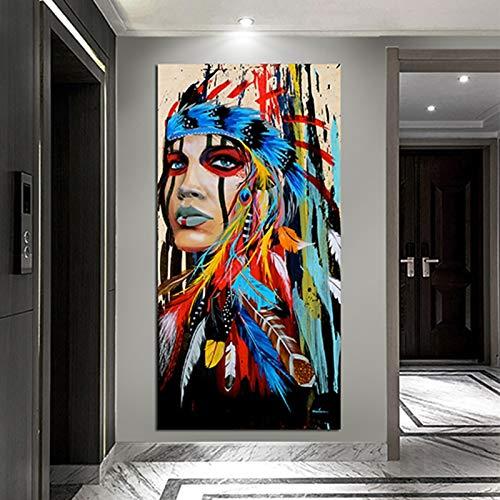 KWzEQ Moderne Federn der amerikanischen Graffiti-Frau schmücken Wohnzimmerplakate und drucken Wanddekoration,Rahmenlose Malerei,60x120cm