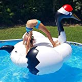 AJH Jouets gonflables Summer Swan Flamingo Grue à Couronne Rouge Floating Row, Petite Grue Blanche Bague de Natation inclinable Floating Bed Game Floating Pad Water Float Toys