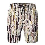 Yuerb Men's Beach Board Shorts Quick Dry Swim Trunk Retro s Rustic Stripe Texture