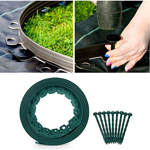 LEEWENYAN Cintura Verde da Giardino in plastica Flessibile Verde, Kit per Bordi paesaggistici in plastica Flessibile assemblata esente da dazio, Telaio per Prato, Bordo per Prato Flessibile (3 Metri)