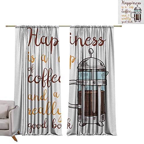 Tr.G verduisteringsgordijnen staafgordijnpanelen voor slaapkamer- en keukenkoffie, kleurrijke mokken met verschillende patronen gevuld met warme dranken cafeïne drinken Aroma Multi kleuren