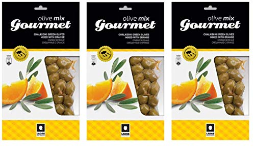 3x 250g (750g) Gourmet Oliven Kalamon Kalamata Orange Rosmarin Chalkidiki 3er Spar Set eingelegt mariniert Anit-Pasti + 10ml Olivenöl kaltgepresst zum testen