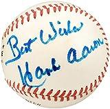 Hank Aaron Autographed Official NL Baseball Atlanta Braves'Best Wishes' Vintage Signature PSA/DNA #I67868
