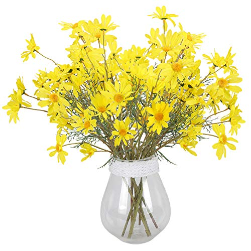 RERXN Artificial Silk Daisy Flowers,Fake Gerbera Flowers,Long Stem Fake Foliage Greenery Faux Plants Shrubs Plastic Bushes for Window Box Home Wedding Office Decor,Pack of 5 (Yellow)