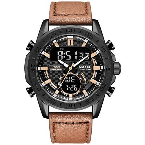 JTTM Relojes Hombre Reloj Militar Deportivos Digital Impermeable LED Cronometro Calendario Fecha Electrónico Reloj Grandes De Pulsera De Analógico Cuarzo Casual,Café