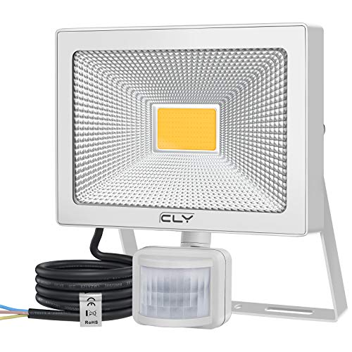 CLY 54W Foco LED Blanco Cálido 3000K con Sensor de Movimiento, Luz de Seguridad Impermeable IP66, Foco LED Exterior 5000LM Foco LED para Jardín, Terraza, Patio, Garaje