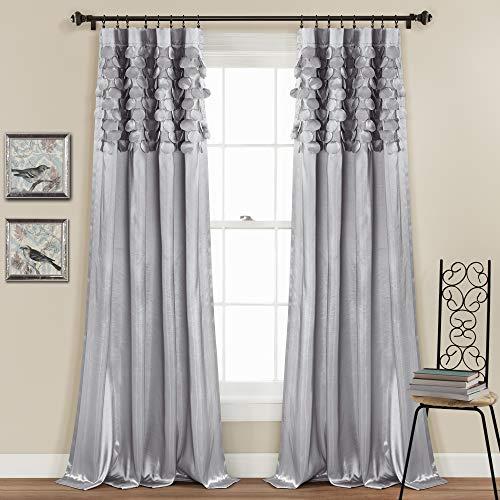 "Lush Decor Light Gray Circle Dream Window Curtains Panel Set for Living, Dining Room, Bedroom (Pair), 84"" x 54, 84"" x 54"""