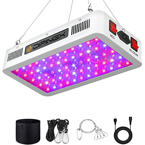 DIPINGX Upgraded Full Spectrum Led Grow Light 600W Veg&Bloom Double Switch Led Growing Lamp for Greenhouse Indoor Plant Veg and Flower(Dual-Chip 10W LEDs 60Pcs) (600W)