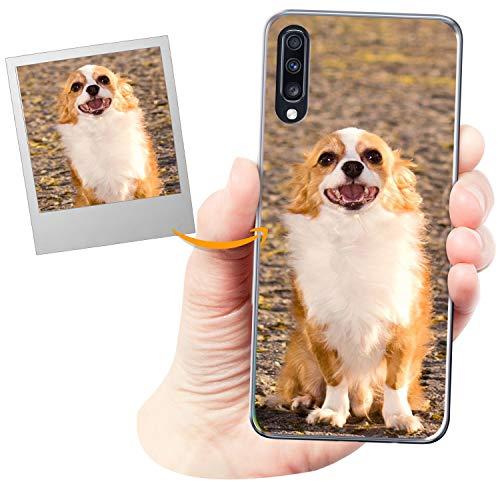 Coverpersonalizzate.it Cover Personalizzata per Samsung Galaxy A70con la Tua Foto, Immagine o Scritta - Custodia Morbida in TPU Gel Trasparente - Stampa di altissima qualità