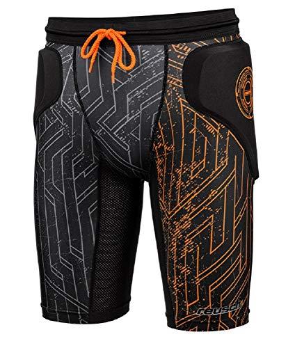 Reusch CS Femur Padded - Pantaloncini da Uomo, Uomo, Pantaloncini, 3818530, Nero/Arancio Shocking, XL