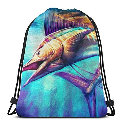Mochila Niños Increíble Pez Vela Bolsa De Deporte Impresión Bolsa De Cuerdas Estanca Gym Bag para Gimnasio, Playa, Viaje, 36X42Cm
