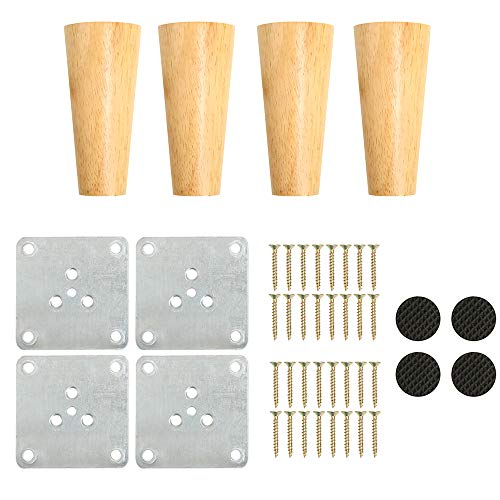 4'' Round Solid Wood Legs,Furniture Legs Replacement for Couch Chair,Bed,Cabinet,Ottoman,Cabinet,Loveseat,Coffee Table,IKEA Sofa (4 Inch, Set of 4)
