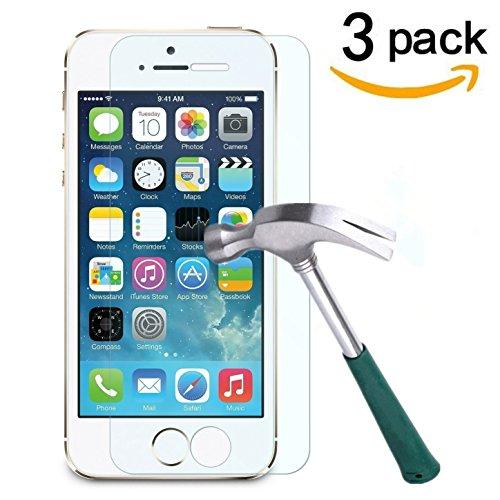 Cäsar-Glas [3 Stück] Schutzglas für Apple iPhone 5 / 5S, Anti-Kratzen, Anti-Öl, Anti-Bläschen, 9H Echt Glas Panzerfolie Schutzfolie