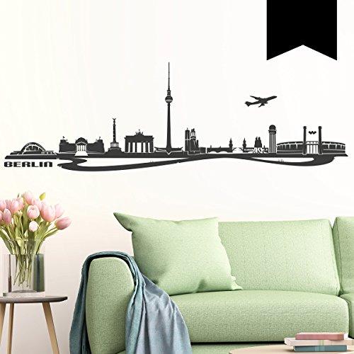 Wandkings Wandtattoo Skyline Berlin (mit Sehenswürdigkeiten und Wahrzeichen der Stadt) 80 x 25 cm schwarz - erhältlich in 33 Farben