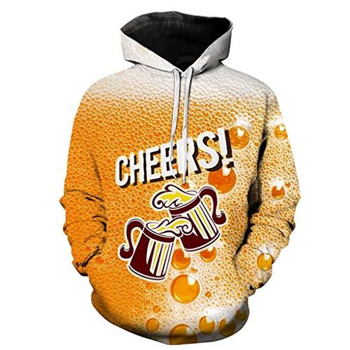 WooCo Sale 3D Billig Kapuzenpullover für Herren- Oktoberfest Lässige Lange Ärmel Sweatshirts mit Taschen, Geschenk für Oktoberfest & Karneval(Orange d,M)
